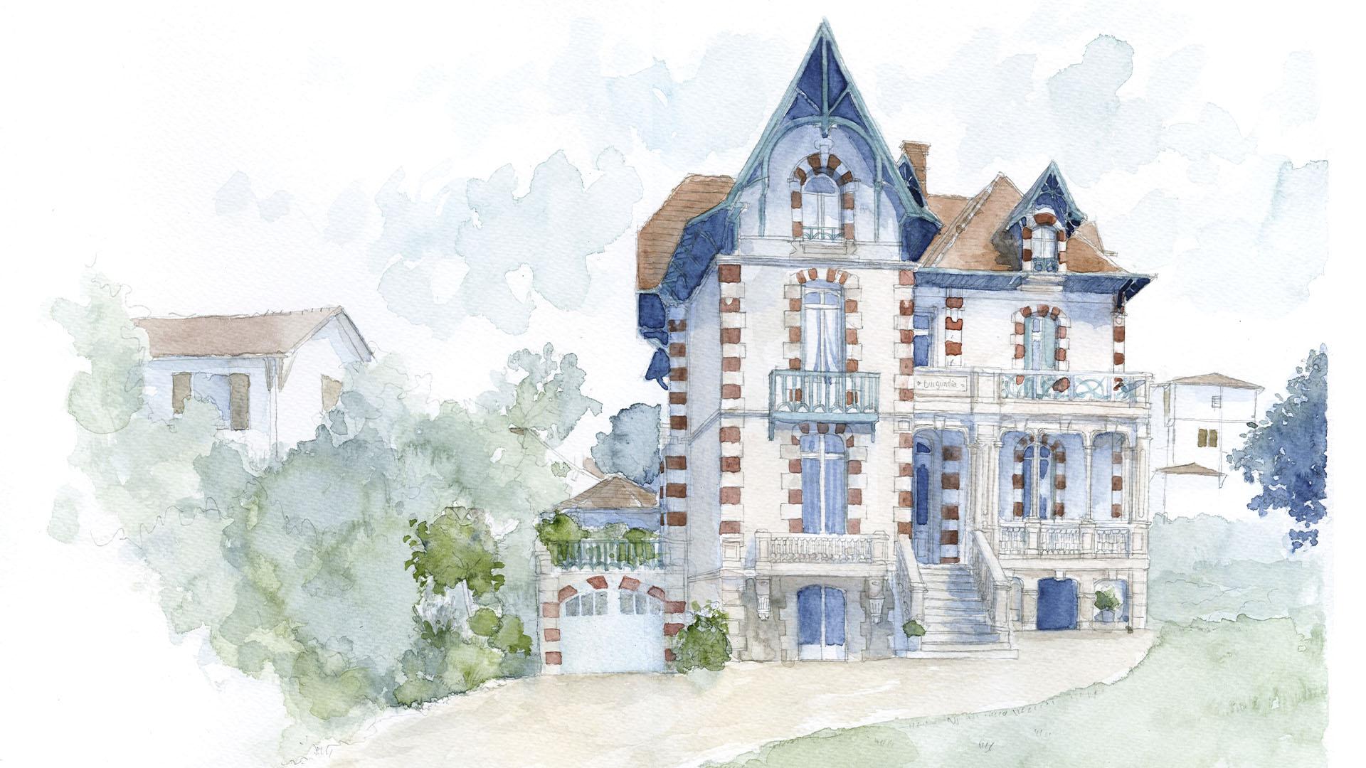 Des aquarelles pour les villas anciennes d'Arcachon